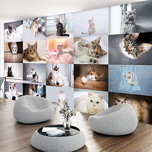 YBSBH Fondo De Pantalla 3D Fondo Autoadhesivo (W) 400X (H) 280Cm Foto Pet Shop Cat Kitten 3D Mural Art Decoración De La Pared Niños Dormitorio Niña Habitación Jardín De Infantes Sala De Estar Pap