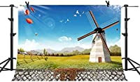 HiYash 7x5ft 風車の写真の背景の国の背景青空の写真スタジオの小道具誕生日パーティー赤ちゃんの誕生日の装飾バナー美しい思い出の家の装飾ビニール素材