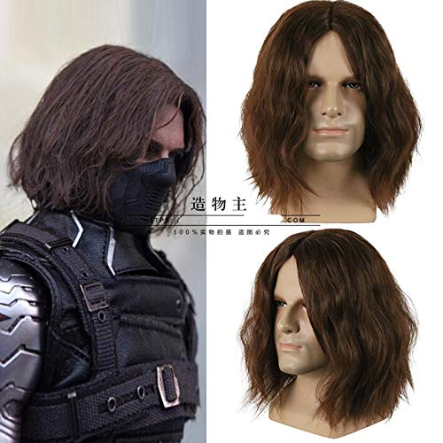 Captain America Winter Soldier Wig Bucky Brown Wavy Wig Comic Cosplay Wig costume with hair net