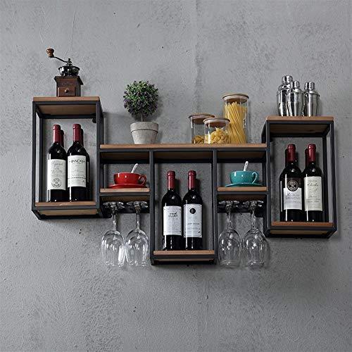 Estantería Flotante de Pared Floating Shelves Los estantes de pared decorativo de almacenamiento retro sólido estante de exhibición del vino de madera estante del vino del sostenedor de múltiples func