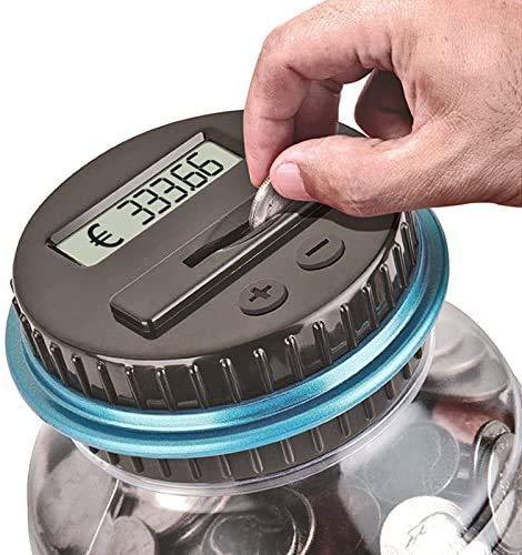 JUNEU Spardose mit Münzzähler, digital, Eurocounter, automatisch, Geldscheine für Kinder und Erwachsene, elektronische Spardose mit LCD-Display und großer Kapazität