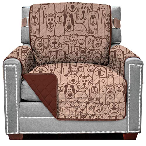 Sofa Shield Original Patent Pending Reversible Chair Protector, Many Colors, Width up to 23 Inch, Furniture Slipcover, 2 Inch Strap, Chairs Slip Cover Throw for Pets, Kids, Armchair, Dog Chocolate