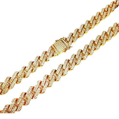 Daesar Collar Cadena Oro Hombre Cadena Circonita Blanca Collar de Cadena Acero Inoxidable Hombre 13mm Colgantes Cadena Hombre 75cm