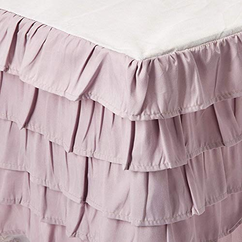 Elegant Comfort Luxurious Premium Quality 1500 Thread Count Wrinkle and Fade Resistant Egyptian Quality Microfiber Multi-Ruffle Bed Skirt - 15inch Drop, Full , Lilac/Lavender