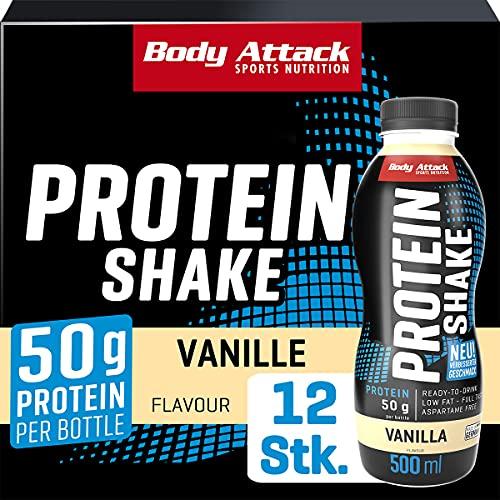 Body Attack High Protein Shake, Milch-Eiweiß, Fertigdrink in 500ml Flasche, Vanilla (12 x 500ml)