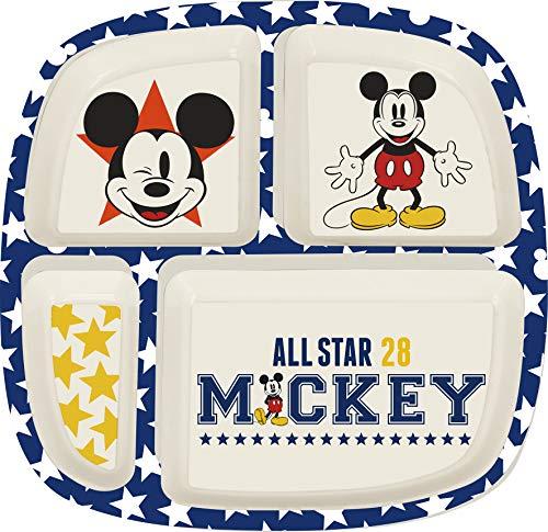 ALMACENESADAN 2031, Plato Bambú Dividido Disney Mickey Mouse All Star; Dimensiones 23x23x2 cm; 4 Compartimentos