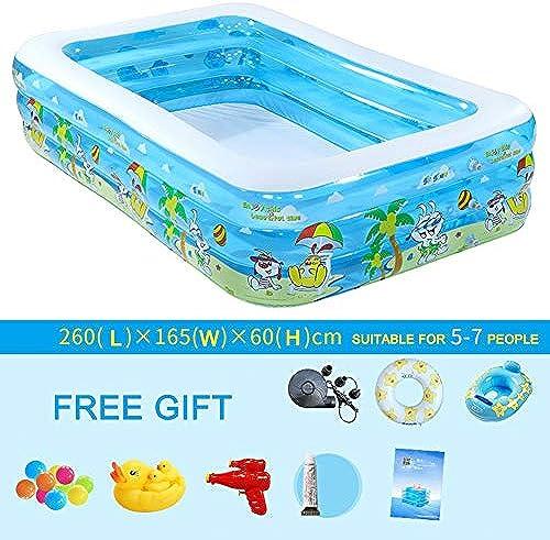 SLONG Aufblasbarer Pool für Kinder, Aufblasbarer Pool für Erwachsene für Sommerfest, Rechteckiger Familienpool für Kinder, ab 3 Jahren,260  165  60