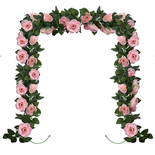 Huryfox 2 Pack Flower Garland Artificial Pink Rose Garlands Flowers Vine Fake Floral Vines Valentine Decorations for Wall Birthday Party Wedding Room Decor (15 FT, Pink)