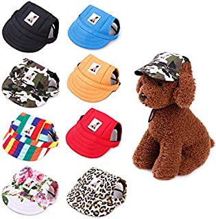 Gogobuddy Dog Hats, 8 Packs Multi-Color Pet Baseball Cap Puppy Sport Hat Outdoor Sunbonnet Cap with Ear Holes and Adjustable Neck Strap for Small to Medium Dogs and Cats