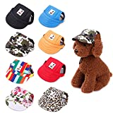 Gogobuddy Dog Hats, 8 Packs Multi-Color Pet Baseball Cap Puppy Sport Hat Outdoor Sunbonnet Cap with Ear Holes and Adjustable Neck Strap for Small to Medium Dogs and Cats (Large)