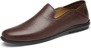 HaiNing Zheng Driving Loafers for Men Casual Shoes Slip-on Genuine Leather Vegan Classic Business Dating Walking Lightweight Thin Flat Anti-Slip (Color : Brown, Size : 5.5 UK)