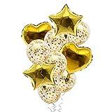 Globos de Papel Confeti con Forma de Corazón y Estrella Juego de Globos , Decoración de Feliz Cumpleaños Dorado, Globos de Helio para Baby Shower, Boda 10 Piezas