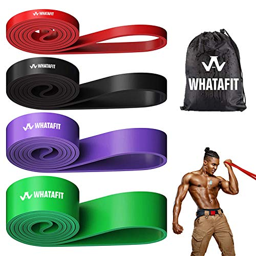 Whatafit Pull Up Assist Bands Resistance Stretch Band for Men and Women, Assistance Band for Exercise, Chin Ups, Powerlifting, Training, Gyms, Mobility Home Fitness (Set of 4)