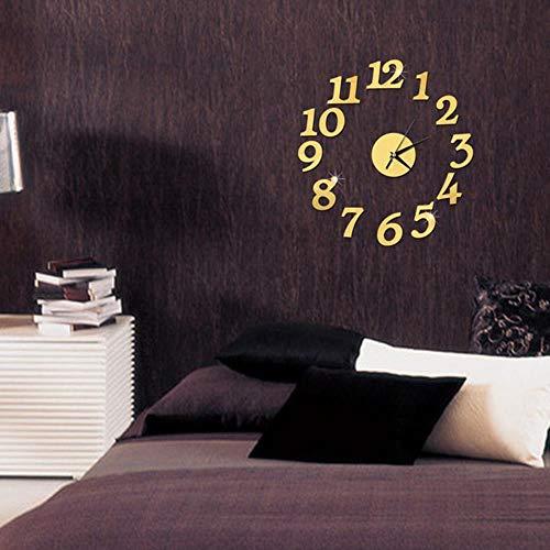 aifengxiandonglingbaihuo nieuwe klok klok wandklokken 3D DIY spiegel sticker Home Decoration woonkamer kwartsnaald goud