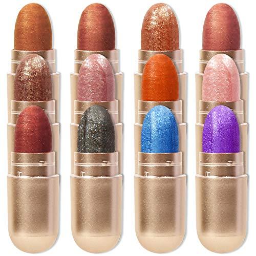 DEROL Eyeshadow Stick Sets 12 Colors,Long Lasting Glitter Eye Brightener Eyeliner Sticks,Cream to Powder Waterproof Eye Makeup,Eyeshadow Capsules Crayon,Shimmer Eye Shadow Pencils (12 Colors/Box)