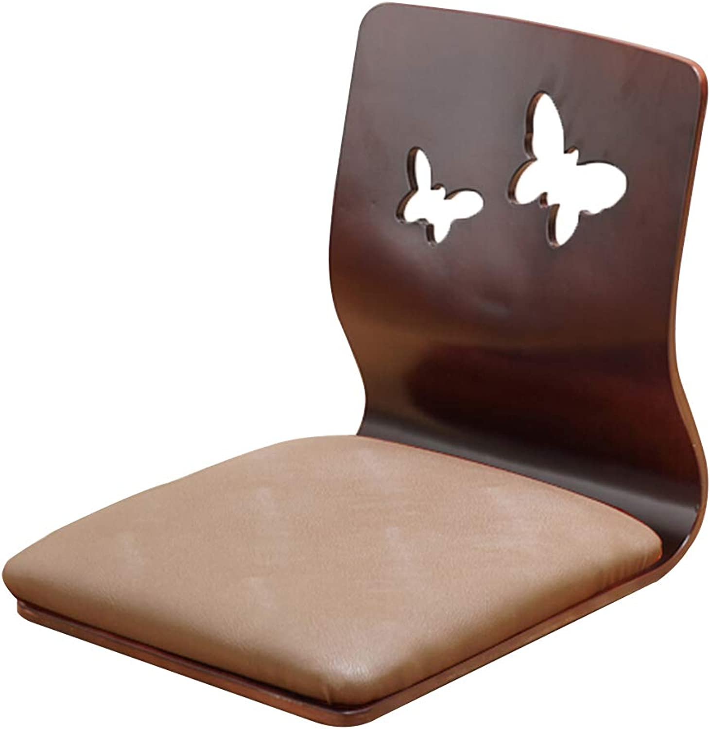 Lazy Sofa Floor Chair, Floor Seating Bed Gaming Chair Meditation Chair Bed Dormitory Computer Backrest Solid Wood Chair (color   Brown)