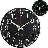 Relojes de pared de madera silenciosos sin garrapatas, con números grandes, redondos, retro, para oficina, cocina, sala de estar, dormitorio, funciona con pilas, color negro