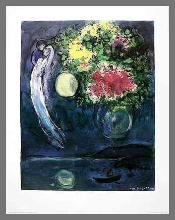 Germanposters Marc Chagall Liebespaar mit Blumen (1949) Poster Kunstdruck Bild im Alu Rahmen in Champagne 90x70cm