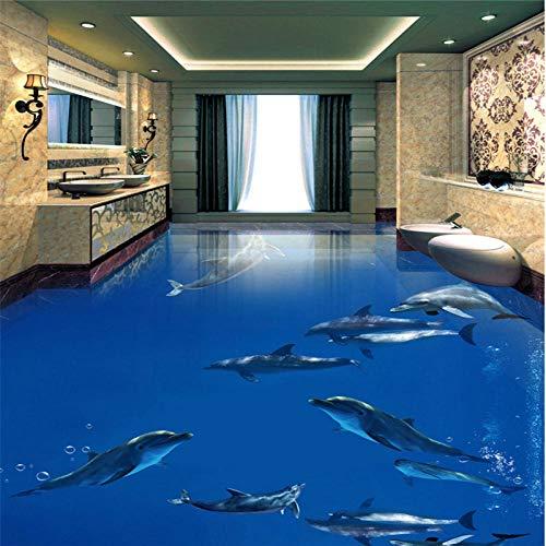 Große kundenspezifische nichtgewebte Tapeten-Delphin-Tanz-Unterwasserwelt 3D Stereobad-Wohnzimmer-Boden Paintings-430 * 300Cm
