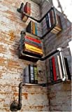 Étagères pour livres MLR-2015 en acier galvanisé - Style urbain. Type: étagères pour livres - Matériau: métal (fait à la main). Hauteur: 120cm - Largeur: 30cm - Distance du mur: 13cm - Diamètre du tuyau: 2,5cm. - Facile à monter.