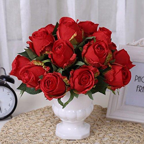 ZJJJH Kunstbloemen, decoratie, kunstmatige stijl, rozen, decoratie, bruiloft, buiten, rood, producten van de bloemen, bevat: kunstmatige planten.