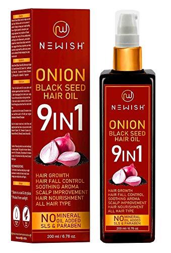 Newish® Organico Onion Hair Oil for Hair Growth, Anti Dandruff & Red Oninin   Besto Hair fall Control oil for baldnes   Argan oil, Almond Oil, Morrocan oil   Hair Regrownz black seed oil for Women 200ml