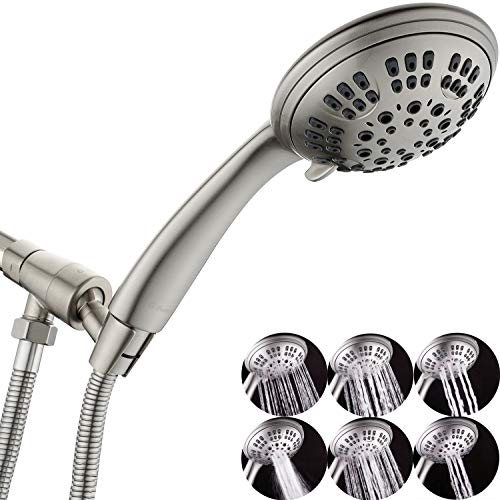 G-Promise High Pressure Shower Head 6 Spray Setting Hand Held Shower Heads with Adjustable Solid Brass Shower Arm Mount Extra Long Flexible Stainless Steel Hose(Brushed Nickel)