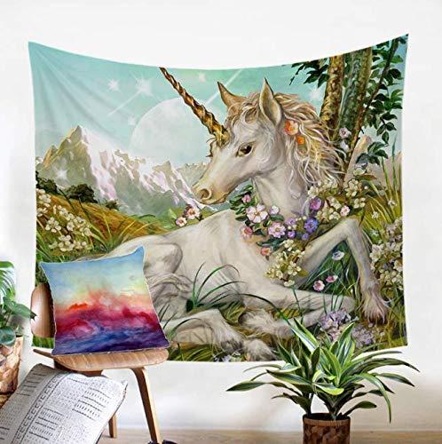 Décor Chambre décoration 3D Tapisserie Aquarelle Imprimer Tenture Murale pour Fille Fleur Vie Mur Tapis Coloré Onirique 150 * 200 cm