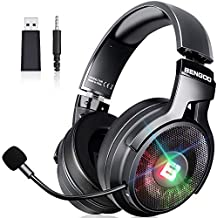 BENGOO 2.4G Wireless Gaming Headset Headphones with Microphone for PS4 PS5 PC, 3.5mm Wired for Xbox One, Nintendo 3DS Accessory Kits, Headphones with 7.1 Surround Sound, Retractable Mic, Up to 17 Hrs