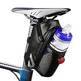 otumixx Bolsa para Sillín de Bicicleta Impermeable Bolsa de Ciclismo con Luz Trasera, Material Especial Reflectante para Bolsa Bicicleta Montaña, Bicicletas y Bicicletas de Carreras, Negro