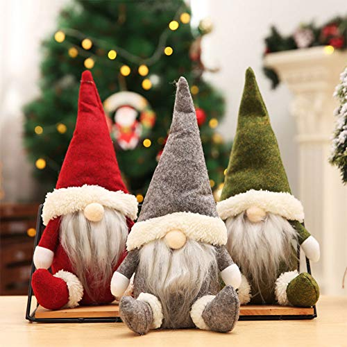Christmas Decorations Home Decor,Christmas Ornaments Plush Long Hat Forest Man Figurine Xmas Santa Claus Faceless Doll Gifts