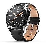 スマートウォッチ 腕時計 YIRSUR メンズ ワイヤレス充電 革バンド IP68防水 著信通知 アナログ文字盤あり 多機能 長時間バッテリー 座りがち注意 目覚まし時計 日本語対応 iphone&Android対応 (ブラック)