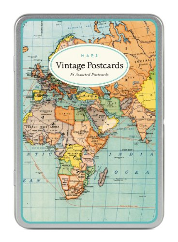 Cavallini Vintage World Maps Carte Postale Postcards