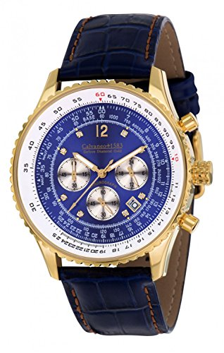 Calvaneo 1583 Herren-Armbanduhr Defcon Diamond Gold BLUE Analog Quarz Leder blau 107932