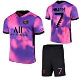 ZJFSL Camiseta de fútbol Paris Saint-Germain Away # 7 Mbappé Conjunto de Camisetas de fútbol Rosa Morado Conjunto de Camiseta y pantalón Corto de Entrenamiento Deportivo para Adultos y niños