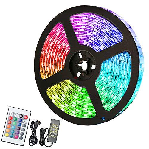 VINGO Tira de luces LED de 2 m, 60 ledes, 5050 RGB, impermeable, tira LED regulable, 24 botones, para fiestas, hogar, dormitorio, cocina, cinta adhesiva autoadhesiva, nivel de energía A +