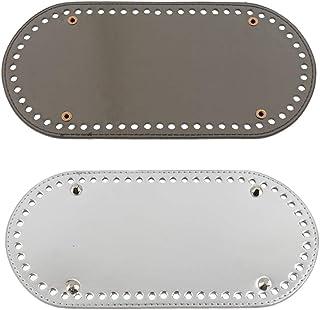Sharplace 60 Trous Fond de Sac en Cuir Artificiel Tapis de Sac Coussin Création de Coudre DIY Sac à Main - Argent + Gris