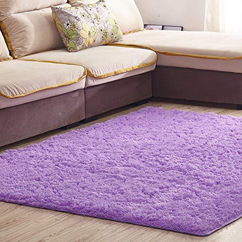Satisinside - Alfombra de área mullida ultra suave con parte trasera antideslizante, alfombra de felpa para el hogar, sala de estar, recámara, habitación de los niños y cuarto de bebé, 120x160cm, gris púrpura