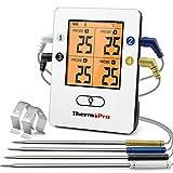 ThermoPro TP25 Termómetro Barbacoa Inalámbrico Bluetooth con 150m de Largo Alcance Termómetro de Cocina Digital con 4 Sondas para Parrilla Horno Ahumador Barbacoa Carne Carne Termómetro