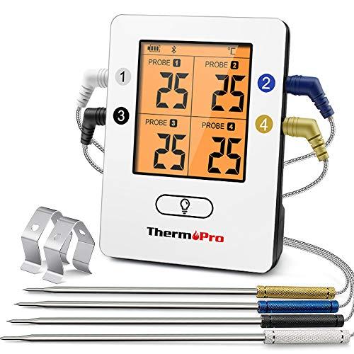 ThermoPro Bluetooth 5.0 Digital Bratenthermometer Grillthermometer Funk Fleischthermometer mit 4 Sonde für BBQ, Garraum, Smoker, Steak, Unterstützt IOS, Android, Reichweite bis zu 150m
