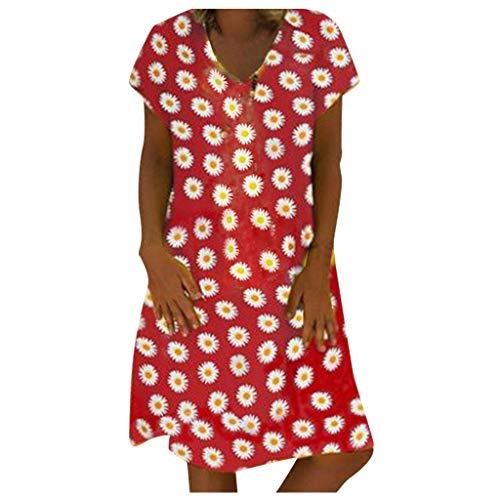 Damen Sommerkleid, Frauen Plus Size Casual Daisy Bedrucktes Kurzarmkleid Mit V-Ausschnitt Und Lockerem Knie Kleider Elegant A-Linie Kleid Strandkleid