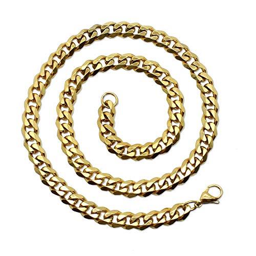 tumundo® Halskette Herren Edelstahlkette Panzerkette Königskette Armband Herrenschmuck, Modell:Gold - Ø 3mm - 50cm