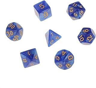 【ノーブランド 品】マルチ面 ダイス TRPGゲーム ダンジョン&ドラゴン D4-D20 小道具 7PCS  全6色 - ブルー