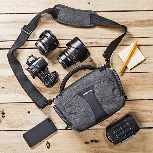 Baxxtar Modena SLR Kameratasche - Regencape Schultergurt Gürtelschlaufe - DREI Farben Zipperband - kompatibel mit Canon EOS R6 M50 250D 850D 2000D - Nikon D750 D3500 D5600 usw