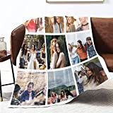 LolyishB Custom Collage Fleece Blanket - Print Your Pictures (9 Photos) - Personalized Collage Throw Blanket for Women,Men,Cats,Dogs (50x60 inches,9 Photos)