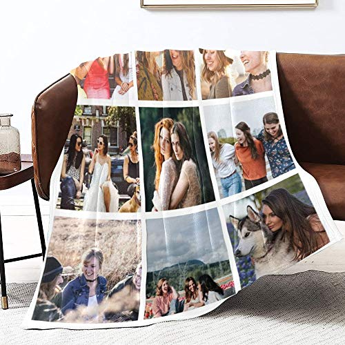 Custom Collage Fleece Blanket - Print Your Pictures (9 Photos) - Personalized Collage Throw Blanket for Women, Men, Cats, Dogs (50x60 inches, 9 Photos)