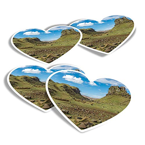 Vinyl Heart Stickers (Set of 4) - Fairy Glen Isle of Skye Scotland Fun Decals for Laptops,Tablets,Luggage,Scrap Booking,Fridges #44993