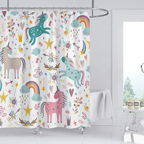 Kikiry Einhorn-Duschvorhang 152,4 cm B x 182,9 cm L Mädchen Cartoon Kinder lustig Kinder Polyester Stoff wasserdicht 12 Stück Kunststoffhaken