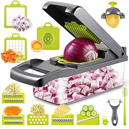 Picadora de verduras con 7 cuchillas para picar y cortar en dados o en rodajas cebolla, pimiento, apio, zanahoria y patatas