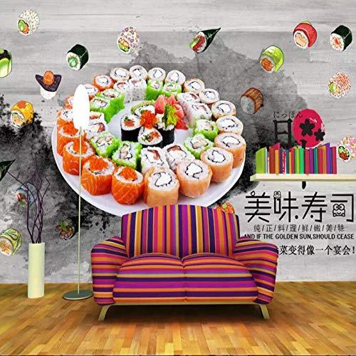 XLXBH 3D Tapete Selbst-Adhesive Wandbild (B)350×(H)256Cm3D Fototapete Japanische Sushi Restaurant Hintergrund Kaffeehaus Küche Tapete Wandbild Tapete,Kinder Zimmer Büro Esszimmer Wohnzimmer Dekorativ